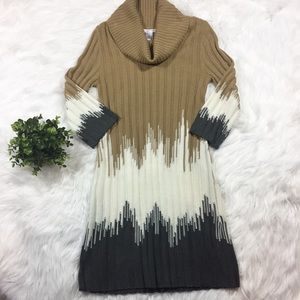 London Times Sweater Dress Turtle Neck Tan Grey